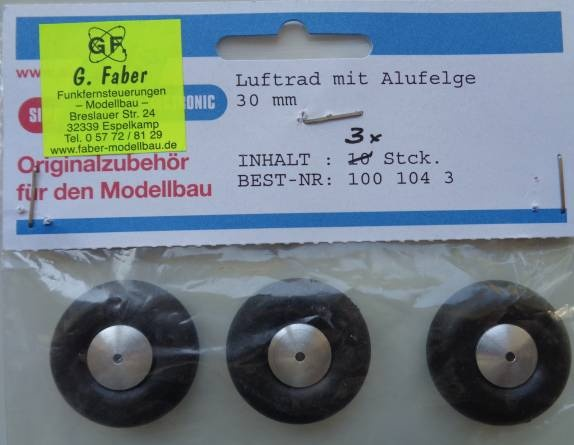 Lufträder m. Alufelge, weich, - 3 Stück - , Außen-Ø  30 mm
