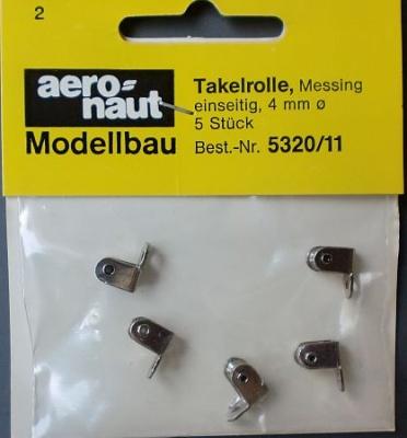 Takelrolle Ms , Metall vernickelt Ø.4mm