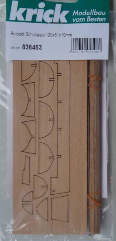 Beiboot Schaluppe 120x31x19mm (mittelgroß)