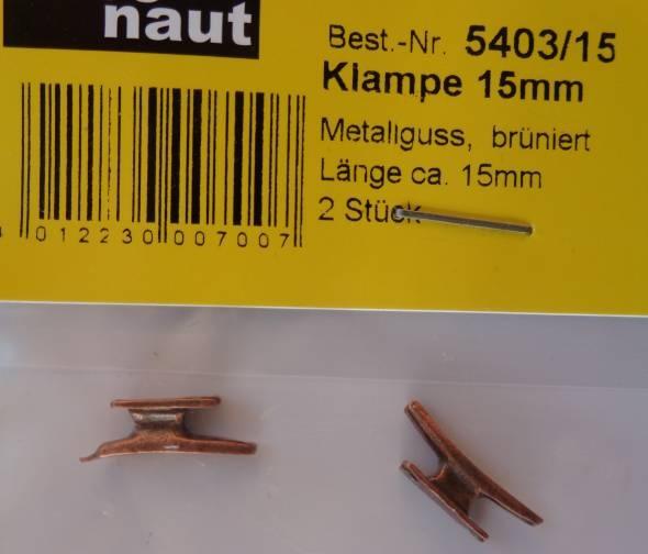 Klampen, Metall, 15 mm lang, 2 Stück