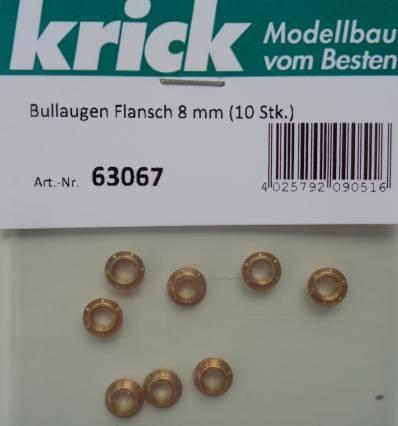 Bullaugen mit  Flansch 8 mm (10 Stück)