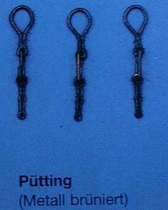 Pütting, Metall brüniert, für Juffern- Ø 5  mm, 10 Stück