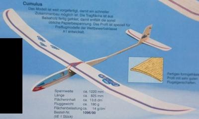 CUMULUS Segelflugmodell (Spannw. 122 cm)