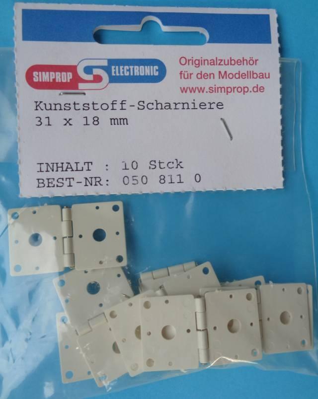 Kunststoff-Scharniere 31 x 18 mm, 10 Stück