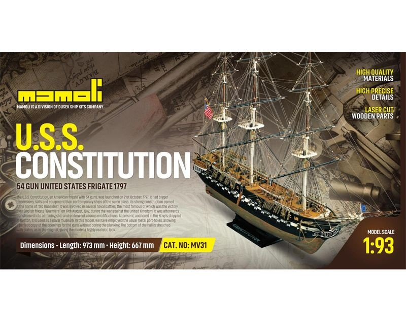 USS Constitution Bausatz 1:93, Länge 97,30 cm
