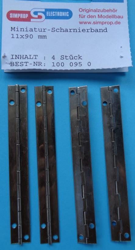 Miniatur-Scharnierband 11 x 90 mm, 4 Stück