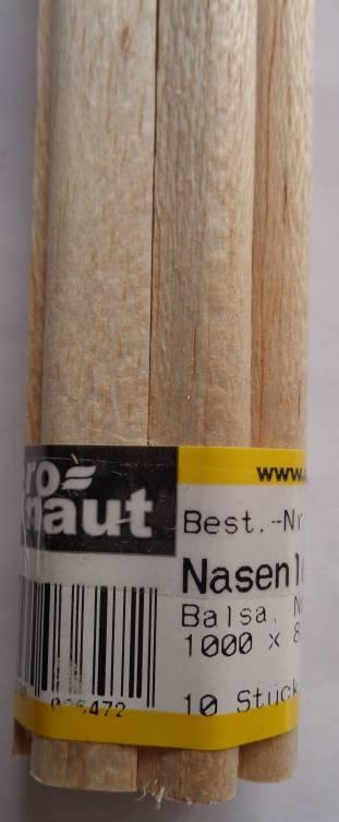 Balsa-Nasenleisten  8x10/1000mm, 4 Stück
