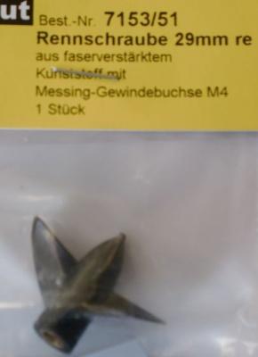 Rennschraube 2-Blatt, 29 mm, rechtslaufend