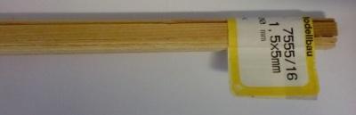Kiefernleisten 1,5 x 5 mm, 1 m lang, 10 Stück