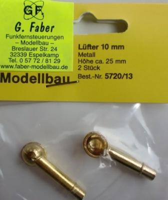 Lüfter (Metall vergoldet) 10 x 25mm, 2 Stück