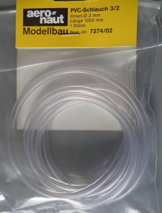 PVC-Schlauch 2/4, Länge 1 m, Innen-Ø 2 mm, Wandstärke 1 mm