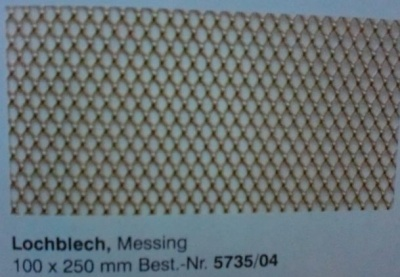 Lochblech, messing, 100  x  250  mm