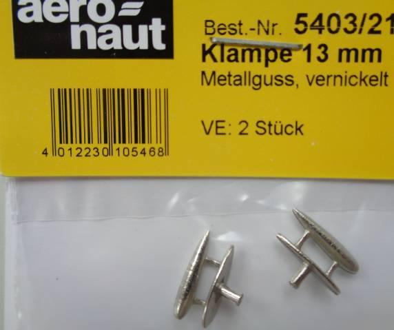Klampen, Metallguss, vernicktelt, L/B/H 13x3,5x6 mm, 2 St.