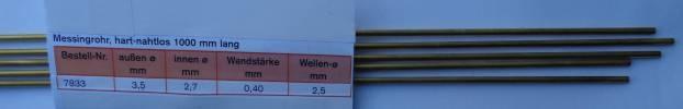 Messing-Rohr 3,5 X 2,7 X 1000 mm,   5 Stück