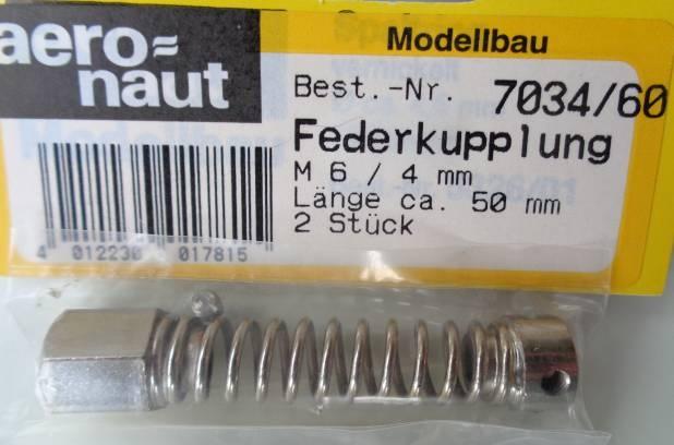 FEDERKUPPL.4/M6, Länge 50 mm,  2 Stück