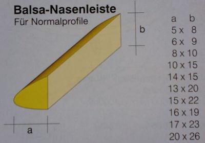 Balsa-Nasenleisten  5 x  8 / 1000 mm,   4 Stück