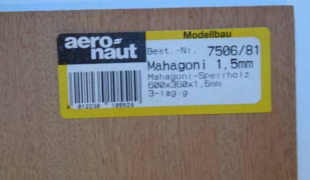 Mahagoni-Sperrholz, Stärke 1,5 mm, 60 x 35 cm
