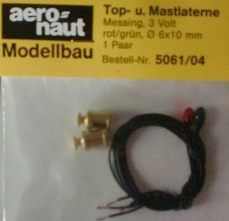 Top- und Mastlaternen 3V,Ø 6mm, Höhe 10 mm, grün/rot, 1 Paar