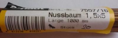 Nussbaum-Vierkantleisten 1,5 x 5 mm, Länge 1 m, 10 Stück