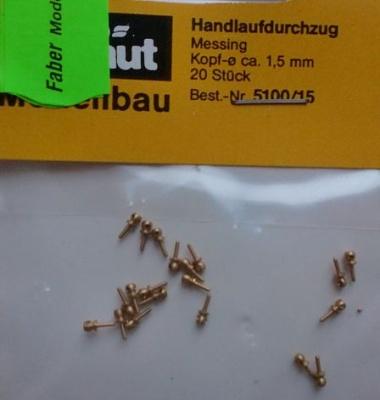 Handlaufdurchzug (Messing), Kopf Ø 1,5 mm, 20 Stück