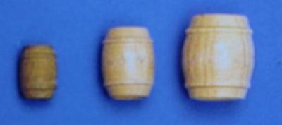 Fässer, Holz, hell, ca. 23 mm hoch, 10 Stück