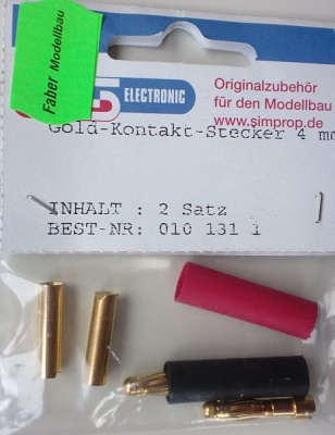 Goldkontakt-Stecker 4 mm, 2 Satz
