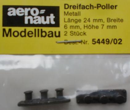 Dreifach-Poller  6 mm (Metall brüniert), 2 Stück