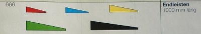 Balsa-Endleisten, blau, 3 x 12 mm, 1 m lang