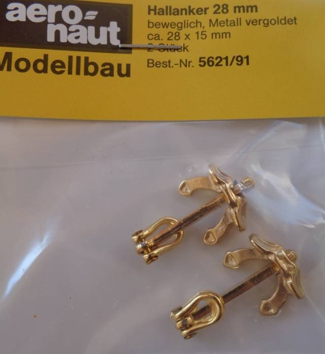 Hallanker, beweglich, Metall vergoldet, 35 mm