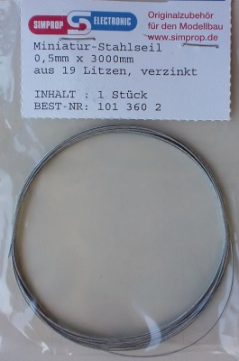 Stahlseil    0,5 mm x 3000 mm, 3 m lang