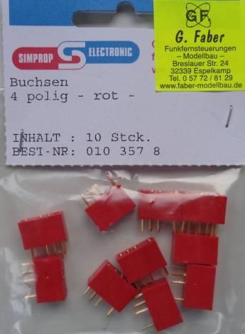 Buchse  4-polig, rot, 10 Stück