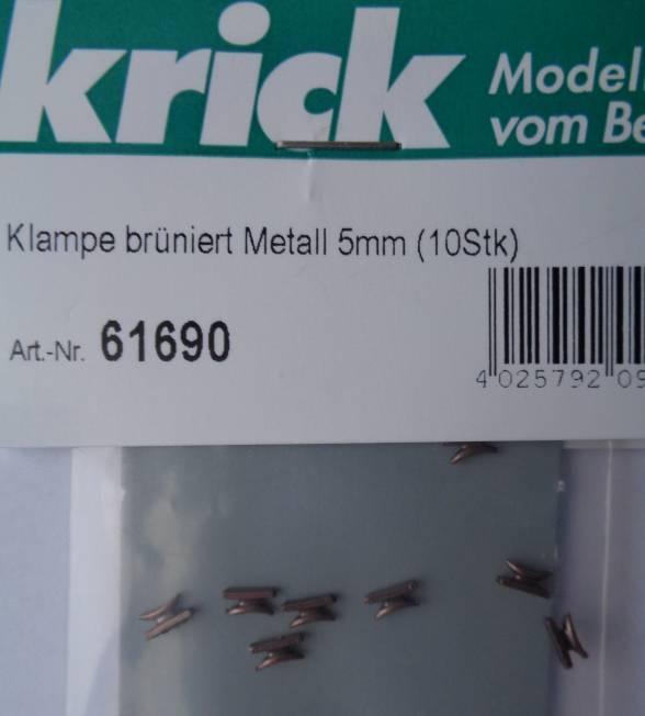 Klampe brüniert Metall 5mm (10 Stück)