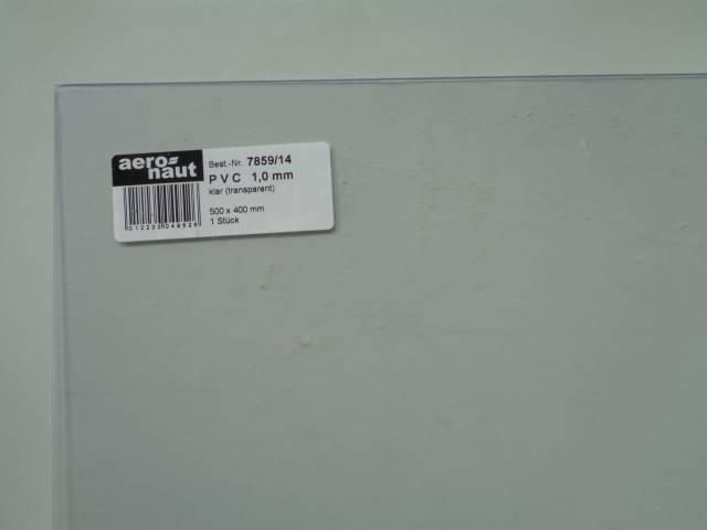 PVC- Platten,  klar 500x400x1.0mm
