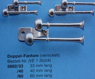 Doppelfanfare, vernickelt,  60 mm, 1 Stück