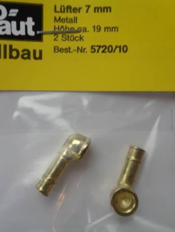Lüfter (Metall vergoldet) 7 x 19 mm, 2 Stück