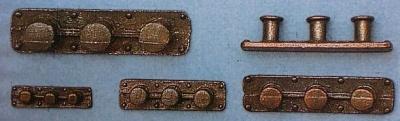 Dreifach-Poller 8 mm (Metall brüniert), 2 Stück