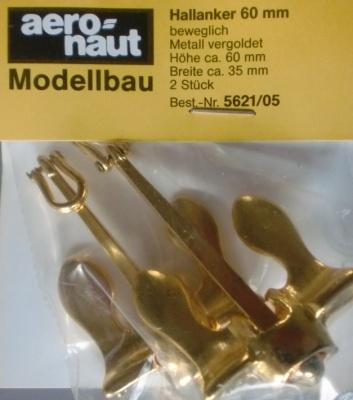 Hallanker, beweglich, metall, vergoldet, 60 mm