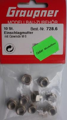 Einschlagmutter M 6, 10 Stück