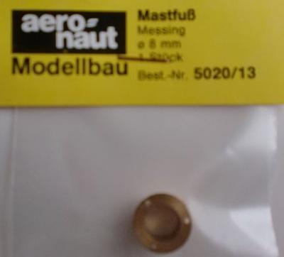 Mastfuss, Messing,  8mm, 1 Stück