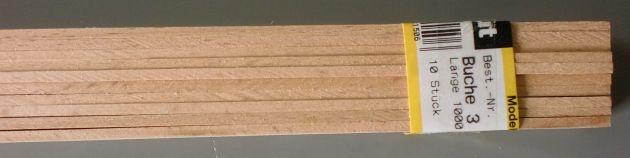 BUCHEN-Vierkantleisten  3 x 20 mm, 1 m lang, 10 Stück