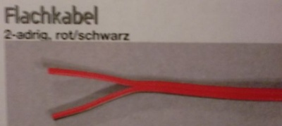 Kupfer-Flachkabel, 2-adrig, rot/schwarz, 0,75 mm²,10 Meter