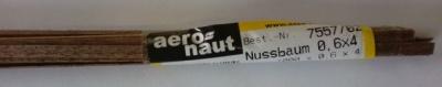 Nussbaum-Vierkantleisten 0,6 x 3 mm, Länge 1 m, 10 Stück
