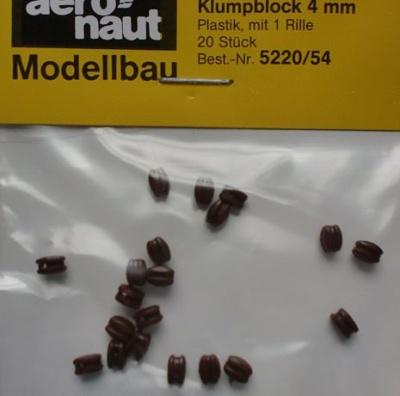 Klumpblock (Plastik), Höhe 4 mm, 1 Rille, 20 Stück