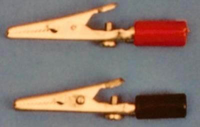 Krokodilklemme, rot/schwarz, ca. 57 mm lg., 1 Paar