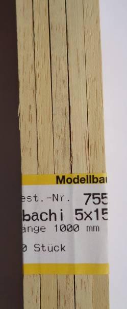 ABACHI-Vierkantleisten  5 x 15 mm, 1 m lang, 10 Stück