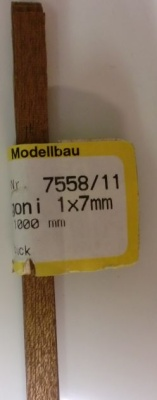 MAHAGONI -VierkantLeisten  1x 7 mm, Länge 1 m, 10 Stück