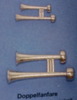 Doppelfanfare, vernickelt, Länge 40 mm