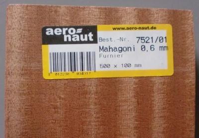 MAHAGONI-Furnier,  500x100x0.6 mm, 10 Stück