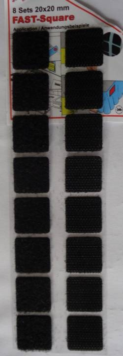 Klettband Skl. Sw. Quadrat 8+8 Stück, 20x20 mm,vorr./1.8.18