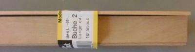 BUCHEN-Vierkantleisten  2 x 20 mm, 1 m lang, 10 Stück